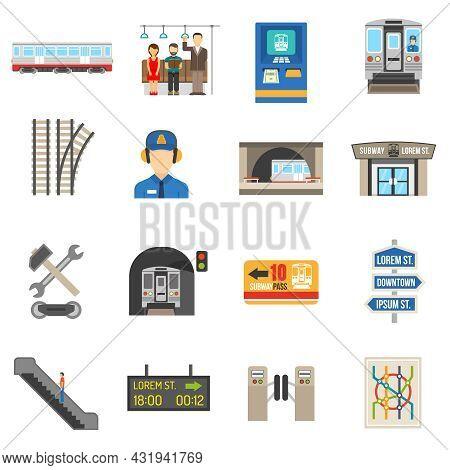 Underground Icons Set Of Different City Subway Elements Like Ticket Train Or Escalator Flat Isolated