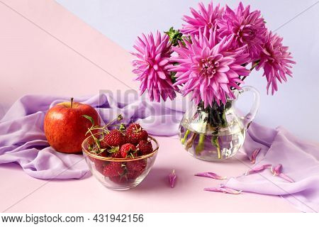 The Concept Of A Good Autumn Morning.a Bouquet Of Pastel Dahlias, A Cup With Ripe Raspberries, A Red