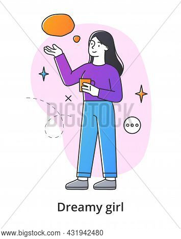 Young Female Character Dreaming On White Background. Concept Of Smiling Thoughtful Young Men And Wom