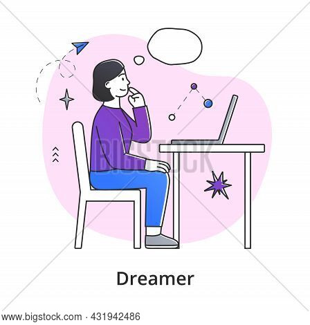 Young Female Character Dreaming While Working. Concept Of Smiling Thoughtful Young Men And Women Wor