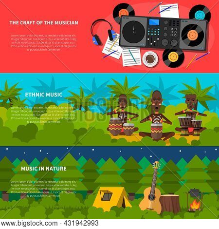 Ethnic Natural Music Inspiration For Musician 3 Flat Horizontal Colorful Banners Set Records Player