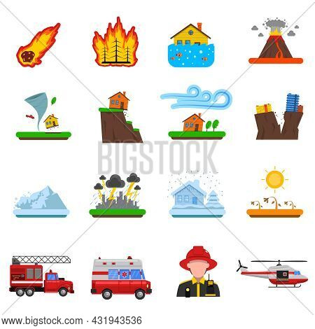Natural Disasters Flat Icons Set With Forest Fire Tsunami Wave And Earth Quake Symbols Abstract Isol