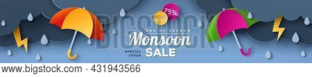 Monsoon Sale Offer Banner Template With Paper Cut Clouds And Colorful Umbrella On Blue Background. V