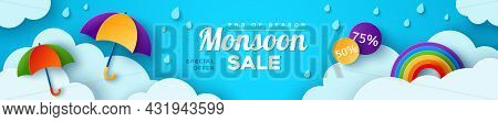 Monsoon Sale Offer Banner Template Header With Paper Cut Clouds, Rainbow And Colorful Umbrella On Bl