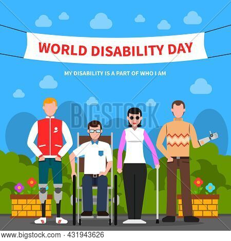 World Disability Day For Solidarity And Support Flat Poster Design With Handicapped People Abstract