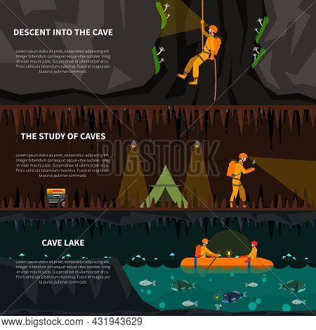 Speleologists Descent Deep Into Cave 3 Flat Banners Set With Lake And Dripstones Dark Abstract Isola