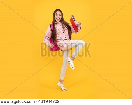 Tween Child Carry School Bag. Childhood And Education. Energetic Student Hold Notebooks Running