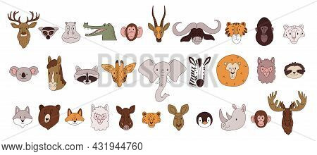 Heads Of Wild Animals. A Large Set Of Forest And African Animals In Pastel Colors With Thin Strokes.