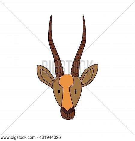 Cartoon Gazelle Head Isolated. Colored Vector Illustration Of An Antelope With A Stroke On A White B
