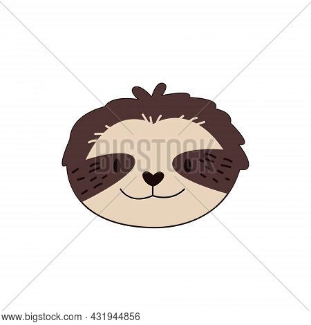Cartoon Sloth Head Isolated. Colored Vector Illustration Of A Sloth Head With A Stroke On A White Ba
