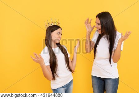 Angry Mom Scold Stubborn Fussy Kid. Ignore Parent. Shout At Difficult Child. Smug.