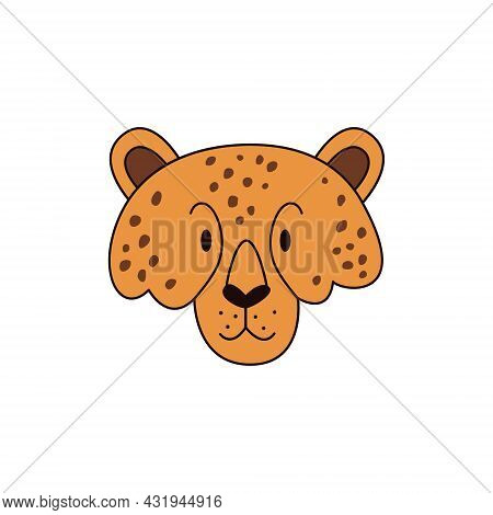 Cartoon Cheetah Head Isolated. Colored Vector Illustration Of A Cheetah Head With A Stroke On A Whit
