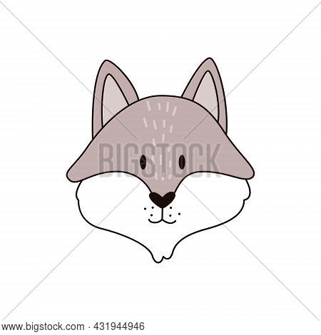 Cartoon Gray Wolf Head Isolated. Colored Vector Illustration Of A Wolf Head With An Outline On A Whi