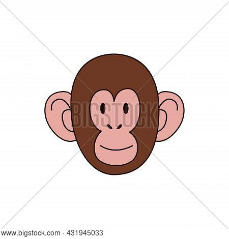 Cartoon Monkey Head Isolated. Color Vector Illustration Of A Primate With A Stroke On A White Backgr