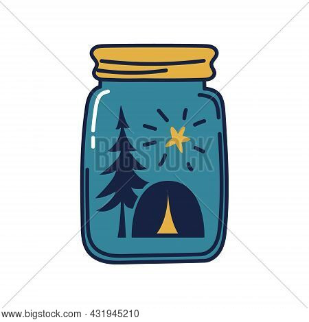 Glass Jar With Camping Tent Inside. A Tent Under A Pine Tree With A Star On A Blue Background Inside