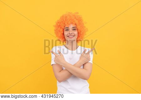 Happy Woman In Curly Wig. Express Positive Emotions. Cheerful Lady Wear Wig.