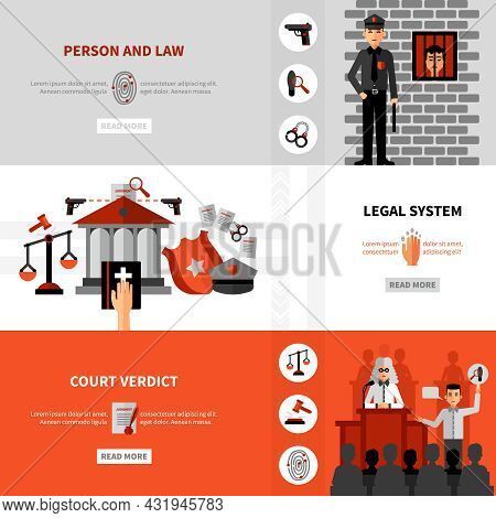 Civil Law Legal System Service Online Information 3 Flat Horizontal Banners Webpage Design Abstract