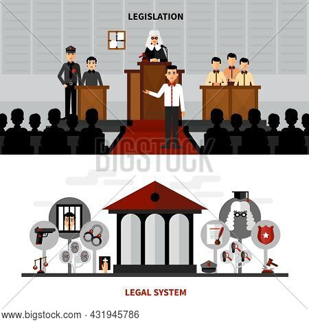 Legal System Law And Legislation 2 Flat Banners Composition With Judge In The Court Abstract Isolate