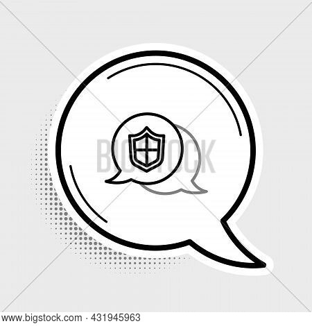 Line Location Shield Icon Isolated On Grey Background. Insurance Concept. Guard Sign. Security, Safe