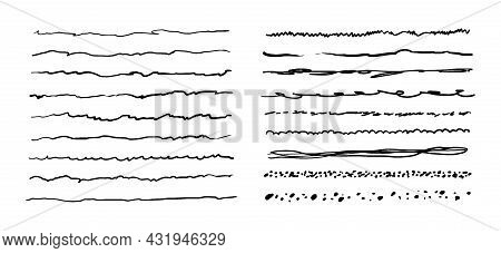 Hand-drawn Doodle Lines. A Collection Of Uneven Underlines. Vector Illustration Of Graphic Elements
