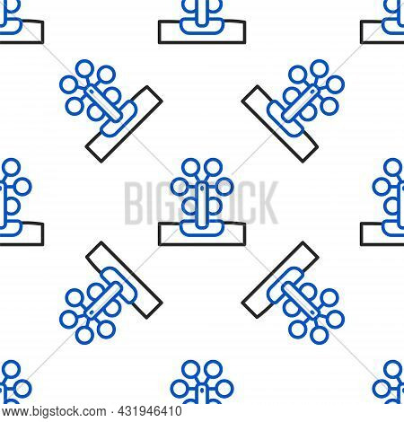 Line Ferris Wheel Icon Isolated Seamless Pattern On White Background. Amusement Park. Childrens Ente