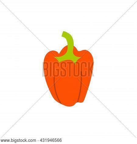 Cartoon Bulgarian Red Pepper Isolated. Vector Stock Illustration Of Sweet Red Pepper. Vegetarian Foo