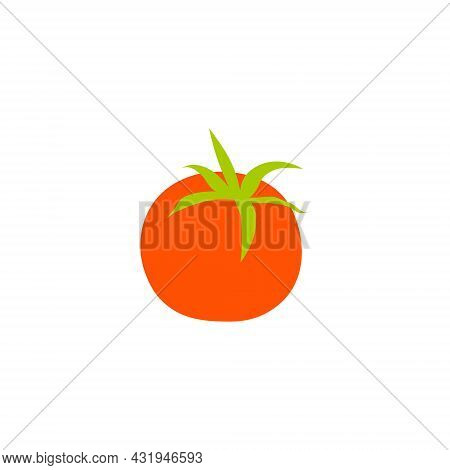 Cartoon Red Tomato Isolated. Vector Stock Illustration Runoff Of A Red Tomato With A Green Leaf. Veg