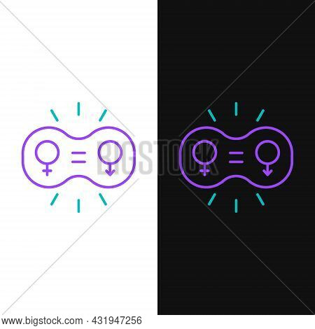 Line Gender Equality Icon Isolated On White And Black Background. Equal Pay And Opportunity Business