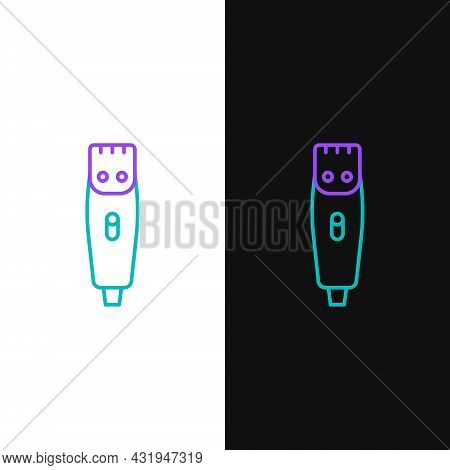 Line Electrical Hair Clipper Or Shaver Icon Isolated On White And Black Background. Barbershop Symbo