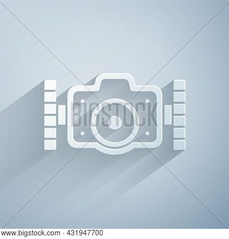 Paper Cut Photo Camera For Diver Icon Isolated On Grey Background. Foto Camera Icon. Diving Underwat