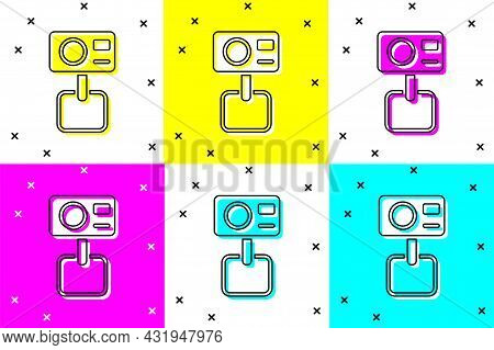 Set Action Extreme Camera Icon Isolated On Color Background. Video Camera Equipment For Filming Extr