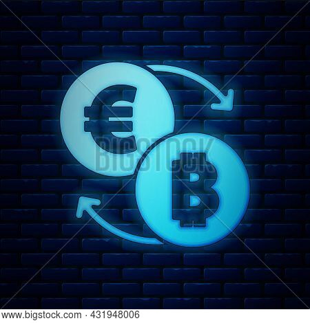 Glowing Neon Cryptocurrency Exchange Icon Isolated On Brick Wall Background. Bitcoin To Euro Exchang