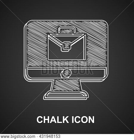 Chalk Online Working Icon Isolated On Black Background. Freelancer Man Working On Laptop At His Hous