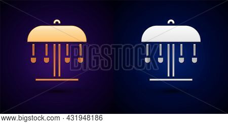 Gold And Silver Attraction Carousel Icon Isolated On Black Background. Amusement Park. Childrens Ent