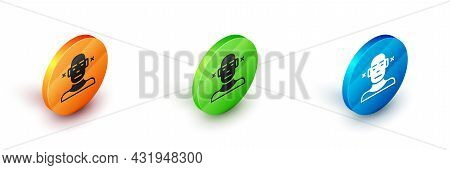 Isometric Deafness Icon Isolated On White Background. Deaf Symbol. Hearing Impairment. Circle Button