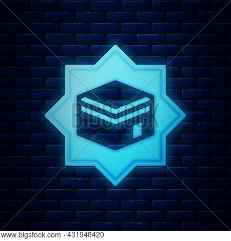 Glowing Neon Kaaba Mosque Icon Isolated On Brick Wall Background. Kaaba Hajj Mecca Pray Pilgrimage R