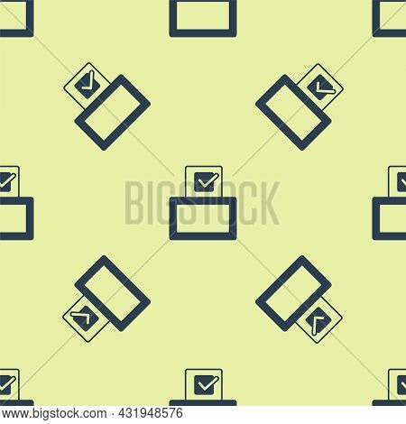 Blue Vote Box Or Ballot Box With Envelope Icon Isolated Seamless Pattern On Yellow Background. Vecto