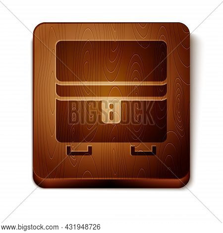 Brown Jewelry Box Icon Isolated On White Background. Casket With Jewelry. Wooden Square Button. Vect