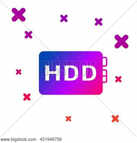 Color Hard Disk Drive Hdd Icon Isolated On White Background. Gradient Random Dynamic Shapes. Vector