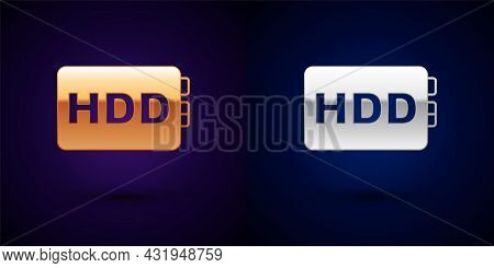 Gold And Silver Hard Disk Drive Hdd Icon Isolated On Black Background. Vector