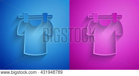 Paper Cut Drying Clothes Icon Isolated On Blue And Purple Background. Clean Shirt. Wash Clothes On A