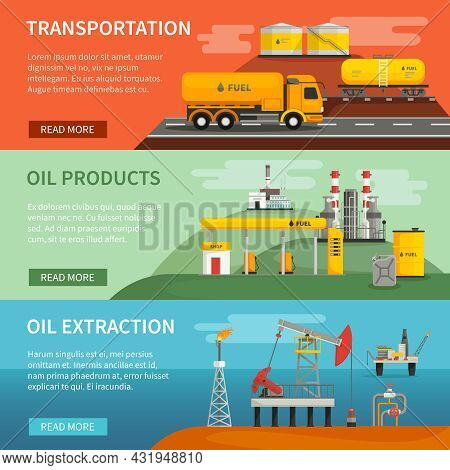 Flat Horizontal Banners Set Of Oil Petrol Industry Segments Extraction Transportation And Products V