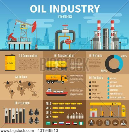 Oil Industry Vector Infographics With Extraction Transportation And Consumption Statistics Products