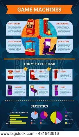 Game Machine Infographics With Slot Crane Karaoke Dynamometer Amusement And Most Popular Equipment S