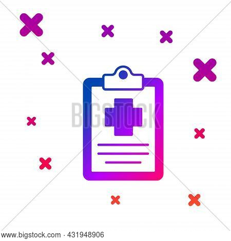 Color Medical Clipboard With Clinical Record Icon Isolated On White Background. Prescription, Medica