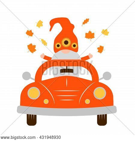 Autumn Retro Car And Cute Fall Gnome. Vector Template For Thanksgiving Card, Banner, Typography Post
