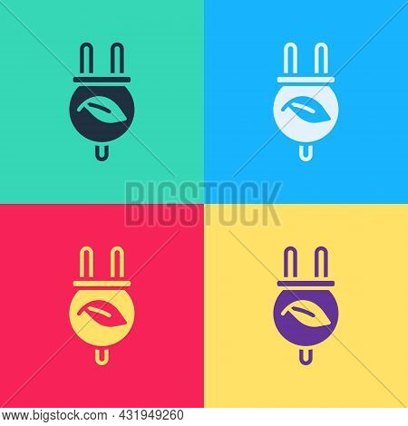 Pop Art Electric Saving Plug In Leaf Icon Isolated On Color Background. Save Energy Electricity. Env