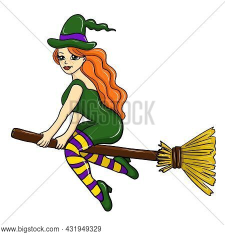 Cute Redhead Witch Flying On A Broomstick, Cartoon Halloween Character, Vector Illustration