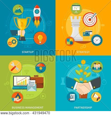 Entrepreneurship 2x2 Design  Concept Set Of Startup Business Management Partnership And Strategy Fla