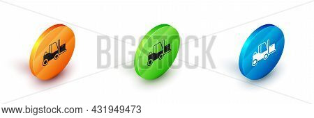 Isometric Forklift Truck Icon Isolated On White Background. Fork Loader And Cardboard Box. Cargo Del